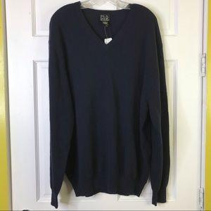 JOS. A. BANK Black V-Neck Sweater 100% Cashmere